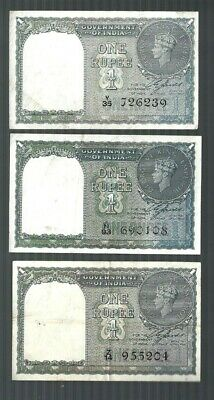 India - Government of India  ✨ 1 Rupee x 3 pcs ✨ Banknote lot & Collection