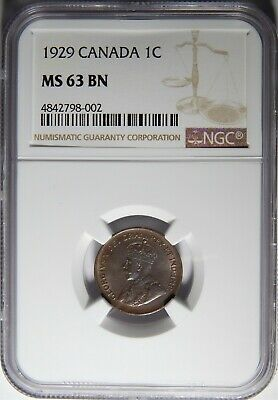 1929 Canada Cent NGC MS-63 BN 1c