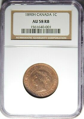 1890 H Canada Large Cent NGC AU-58 RB 1c