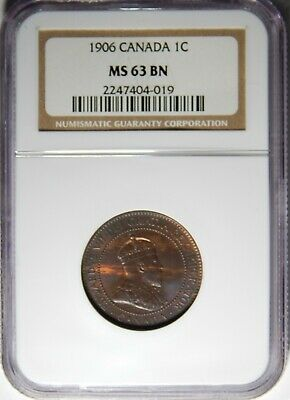 1906 Canada Large Cent NGC MS-63 BN 1c