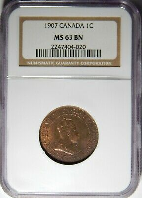 1907 Canada Large Cent NGC MS-63 BN 1c
