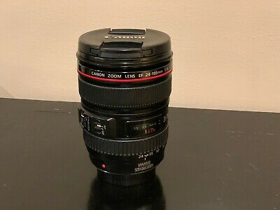 Canon EF 24-105mm F/4 L IS USM Zoom Lens w Genuine Canon Lens Caps and Pouch