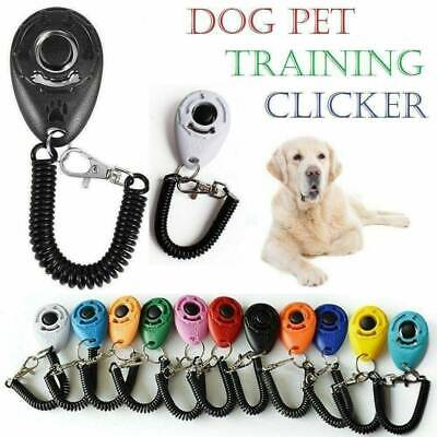 Pet Dog Cat Training Clicker Puppy Button Click Trainer Obedience +Wrist Strap @