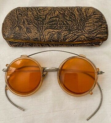 Antique Silver Tone / White Metal Frames & Amber CLIP ON Eyeglasses with Case