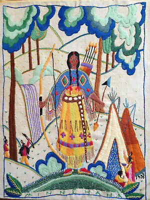 Native American Scene Vintage 1933 Finished Completed Wall Art Crewel Embroidery