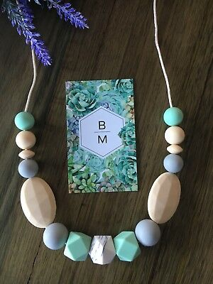 Silicone Necklace for Mum Jewellery Beads Aus Gift Mint (was Teething) Nursing