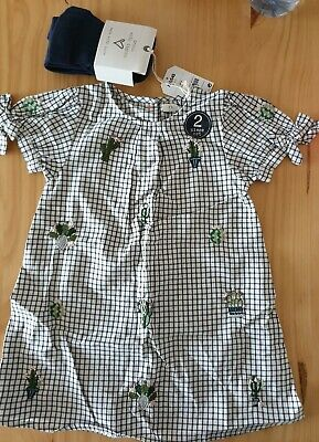 Girls NEXT cactus print Dress and tights set Age 2/3 Years. BNWT.