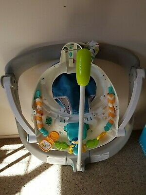 Jumperoo by Fisher-Price with music, sounds and lights. Folds flat for storage.