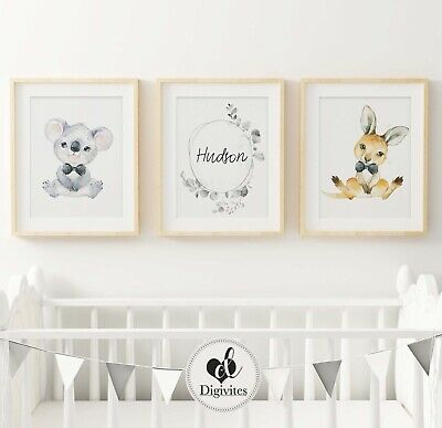 Baby Nursery Wall Art Prints Australian animals Koala, Kangaroo, custom 3 set