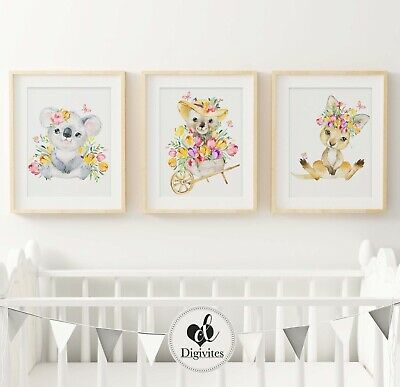 Baby Nursery Wall Art Prints Australian animals Koala, Kangaroo, wombat 3 set