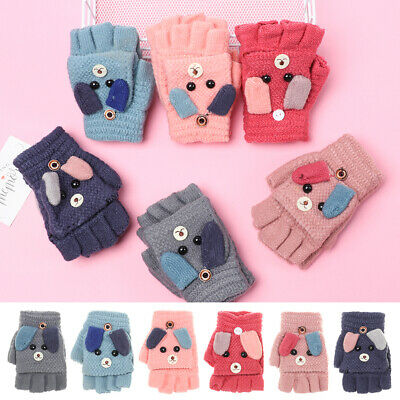 Warm Children Lovely Knitting Mittens Half Finger Flip Cover Thick Kids Gloves
