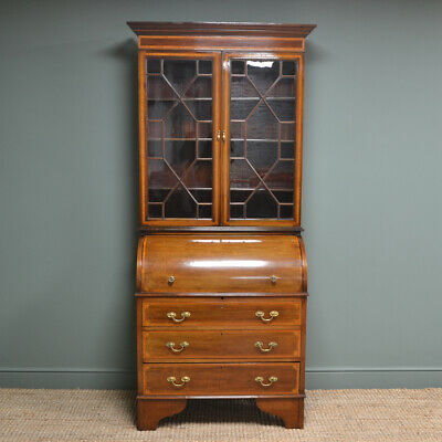 Stunning Edwardian Inlaid Mahogany Antique Cylinder Bookcase
