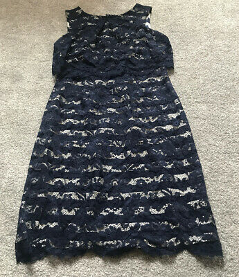 Navy Blue And White Lace Red Herring Dress Size 10