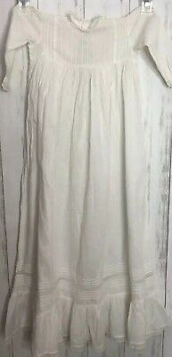 Vintage Antique Victorian Lace Christening Gown Lace Hem Baby Doll Dress