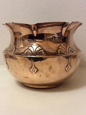 Antique Copper Art Nouveau Arts & Crafts Planter Bowl.
