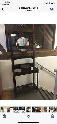 Antique / Vintage Hall Umbrella Hat & Coat Stand With Mirror And Storage Box