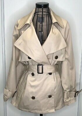 Bnwt Rrp £65 Ladies Next Cream Cotton Belted Mac Jacket Trench Coat Uk 12 Spring