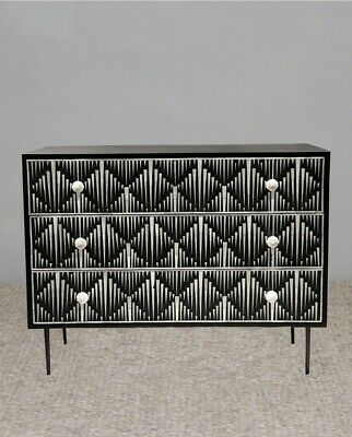 Bone inlay Sideboard 3 drawer indian Handmade Ivary pattern Contemparary style
