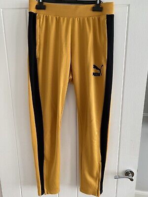 Mens Rare Puma Yellow And Black Tracksuit Bottoms Uk Size Large Rrp £70