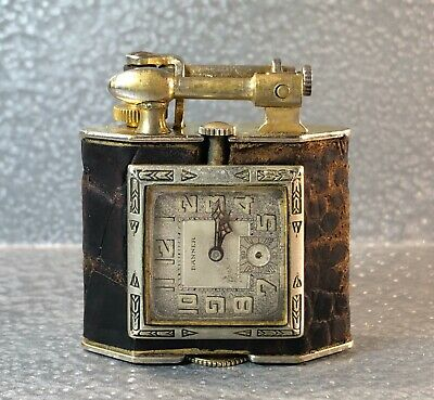 VINTAGE ANTIQUE c.1928 TRIANGLE LIFT ARM CLOCK WATCH LIGHTER 22 K GOLD PLATED