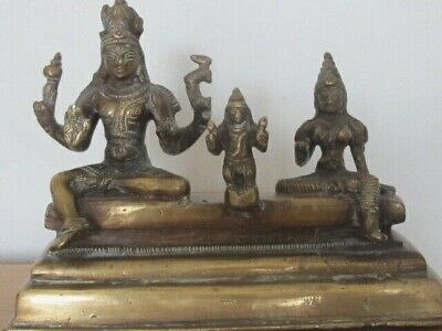 Antique Old Brass Bronze Figure Hindu God Shiva Uma and Son Skanda Stepped Base