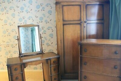 A THREE PIECE UTILITY BEDROOM SUITE - post WWII, probably mid 1940's