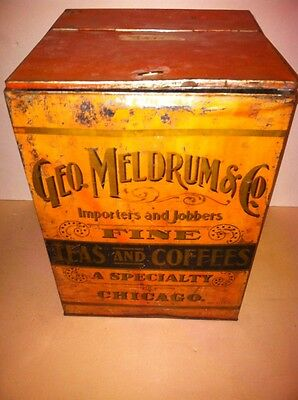 Geo Meldrum Co Tea Coffee Bin Tin Box Advertising Chicago General Country Store