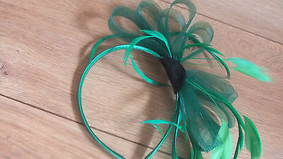 green feather hand made fascinator