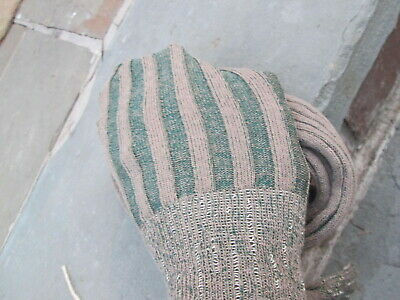 REENACTOR COLONIAL REV WAR 18th C VERTICAL RIBBED STOCKING CHOCOLATE MINT SPRING