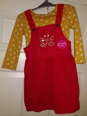 Nutmeg Red Dress T-Shirt Outfit Set Age 2-3