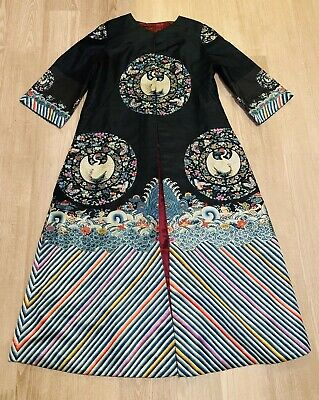 Elegant Antique Qing Dynasty Chinese Silk Robe With Round Crane Rank Badges