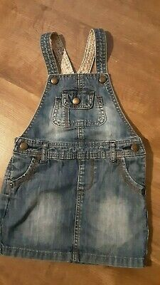 Girl Denim pinafore Dress with ajustable waist  age 2/3 M&S