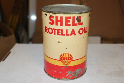 Vintage Shell Rotella Motor Oil 1 Quart Metal Can Gas Station Sign~Full