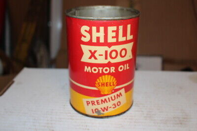 Vintage Shell X-100 Motor Oil 1 Quart Metal Can Gas Station Sign