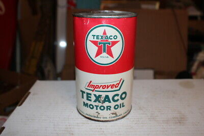 Vintage Texaco Motor Oil 1 Imperial Quart Metal Can Gas Station Sign