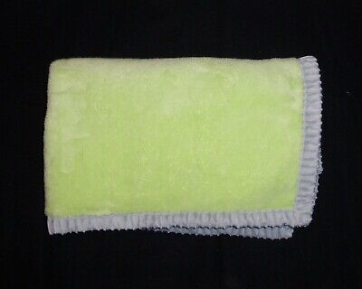 Chick Pea Green Baby Blanket Gray Ribbed Trim Soft Plush Security Lovey