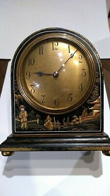 Victorian clock french movement Chinese style ebonised gold applique decoration