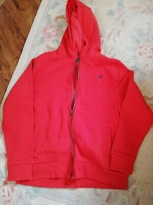 Next Aged 11 Years Boys Red Hooded Zipped Fleece Lined Top BNWT