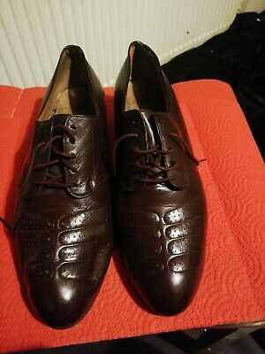 LADIES 1940s 1950s BROWN SHOES GENUINE LEATHER MADE BY HERTHA