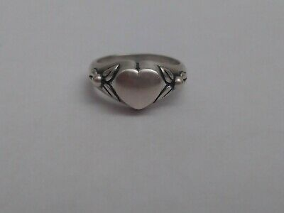 James Avery Retired Vintage Heart and Two Flowers or Leaves Ring Sterling size 6