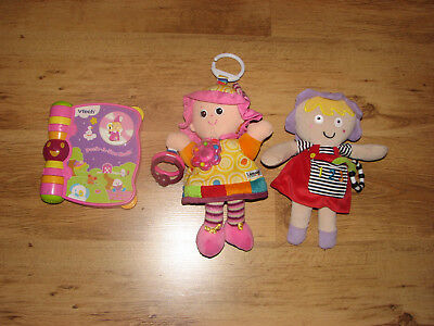 baby/toddler buggy toys 2 soft dolls Emily from Lamazo & M&S, Vtech nursery book