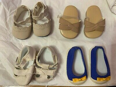 American Girl Doll 4 Pairs Of Shoes Sandals Espadrilles Mary Janes