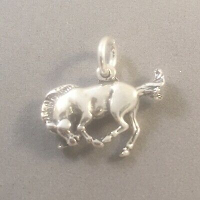 925 Sterling Silver Bucking Broco with Cowboy Charm Made in USA