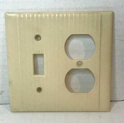 Vintage Ribbed Bakelite Bryant Toggle Switch-Receptacle Combo Cover Plate