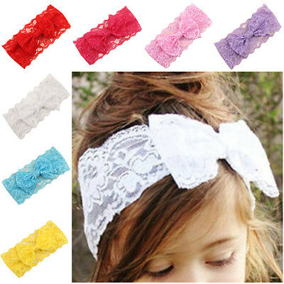 EE_ AM_ FM- GN- Kids Baby Girl Toddler Lace Bowknot Headband Hair Band Headwear