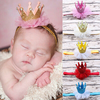 Ee_ Uk_ Fm- Gn- Baby Princess Queen Faux Pearl Tiara Hair Band Headband Crown La