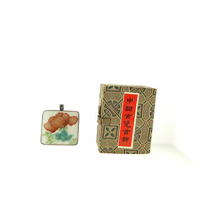 Antique Chinese Qing Porcelain Shard Pendant 925 Sterling Silver COA Boxed
