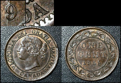 FEBRUARY SALE: Large Cent - 1859 Repunched 9/9 and Last A CANADA - AU (bg141)