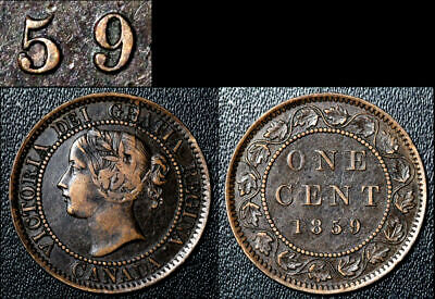 FEBRUARY SALE: Large Cent - 1859 Repunched 5/5 KNOB - RARE EF (bg171)