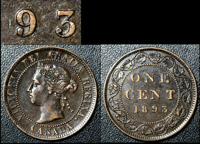 FEBRUARY SALE: Large Cent - 1893 Repunched 9/9 - AU (bg188)